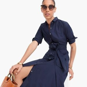 J. Crew Tie-Waist Cotton Shirtdress Navy Size 2